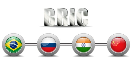 BRIC Countries Buttons Brazil Russia India China Vector