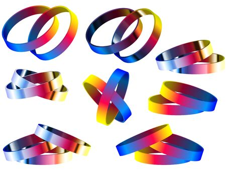 Gay Marriage Rainbow Rings and Bracelets Stock Vector - 15492021