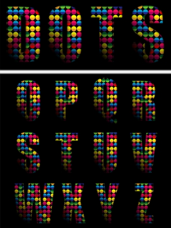 Vector - Alphabet Dots Color on Black Background Vector