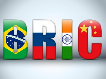 international organization: Vector - BRIC Countries Buttons Brazil Russia India China Illustration