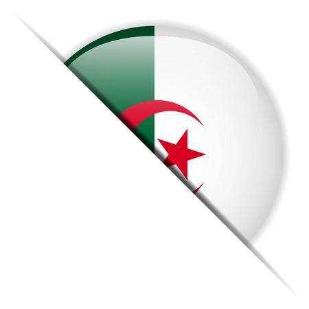 Algeria Flag Glossy Button Vector