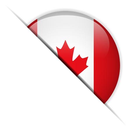 Кнопки: Флаг Канады глянцевая кнопка Иллюстрация