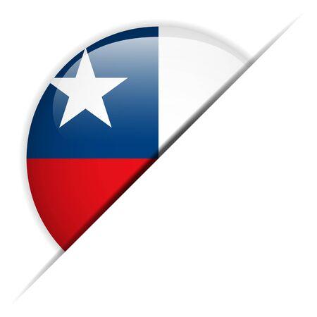 bandera de chile: Chile Glossy Flag Button Vectores