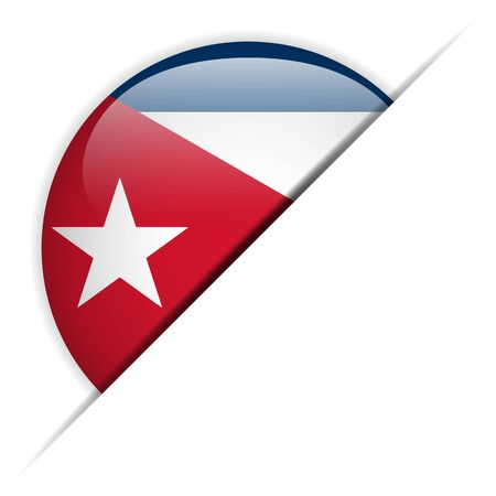 bandera cuba: Vector - Bot�n de Cuba Bandera Brillante