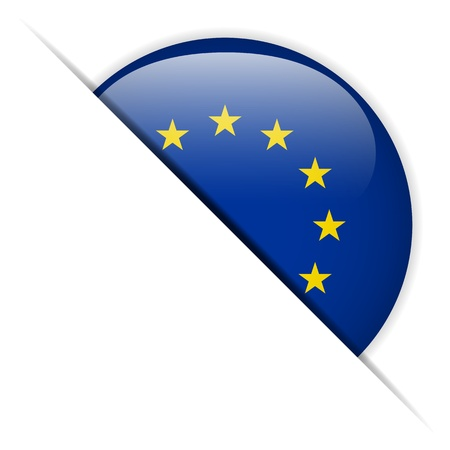 Europe Flag Glossy Button Vector
