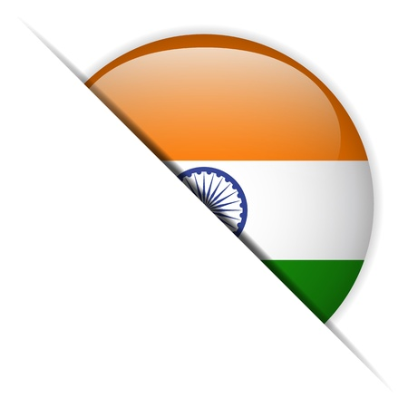 indian design: India Flag Glossy Button