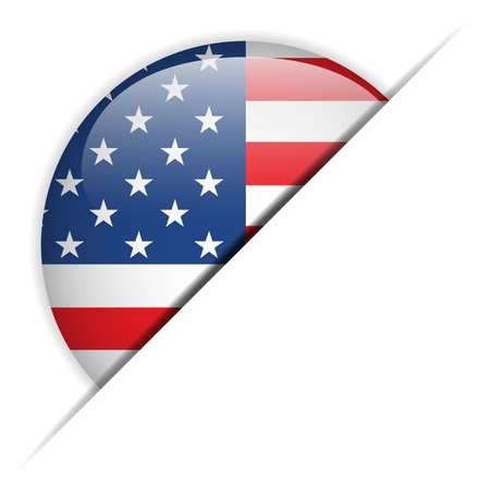 United States Flag Glossy Button Stock Vector - 15473804