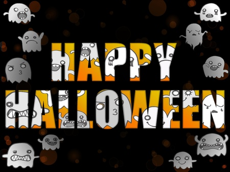 Halloween Letters with Ghosts Vector