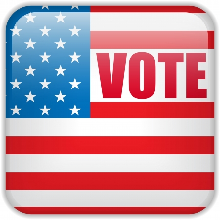 voter: United States Election Vote Button.