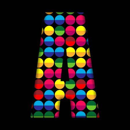 typeset: Alphabet Dots Color on Black Background A