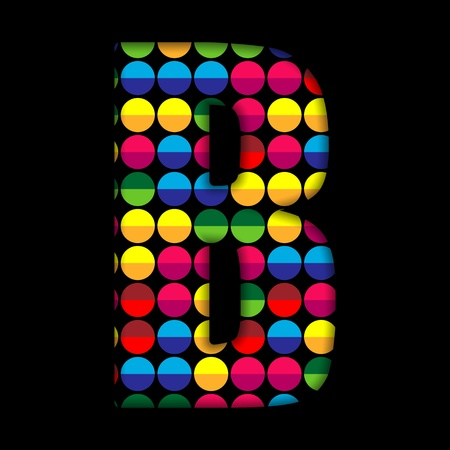 Alphabet Dots Color on Black Background B Vector