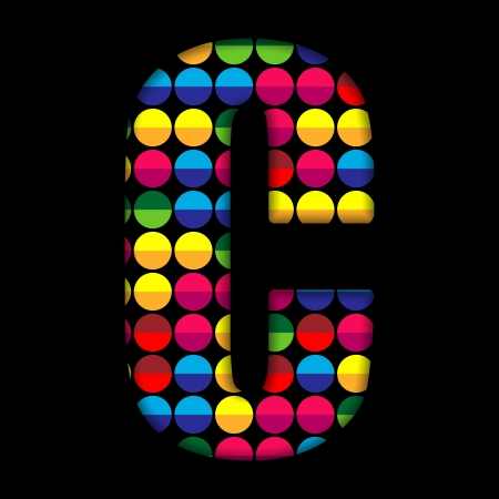 Alphabet Dots Color on Black Background C Vector
