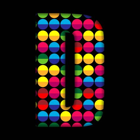 disco symbol: Alphabet Dots Color on Black Background D