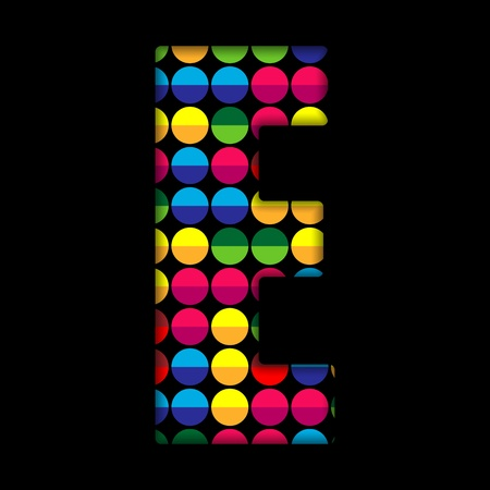 Alphabet Dots Color on Black Background E Stock Vector - 15809850
