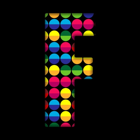 Alphabet Dots Color on Black Background F Stock Vector - 15809843