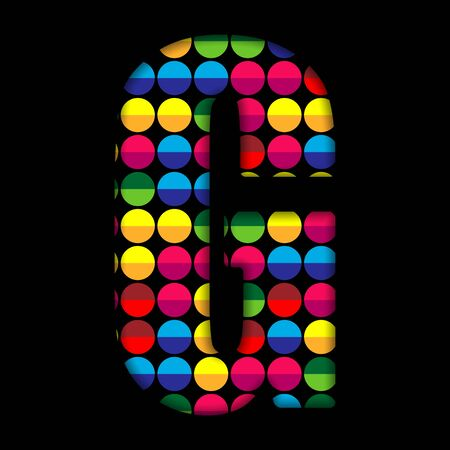 Alphabet Dots Color on Black Background G Vector