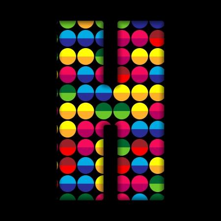 Alphabet Dots Color on Black Background H Vector