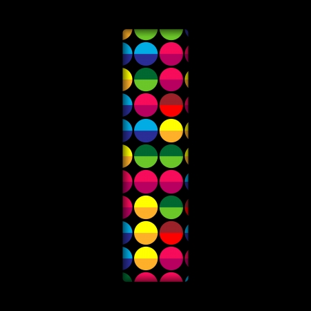 Alphabet Dots Color on Black Background I Vector