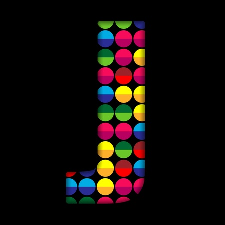 Alphabet Dots Color on Black Background J Vector