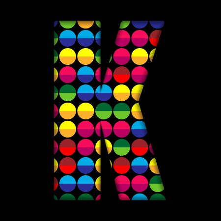 Alphabet Dots Color on Black Background K Vector