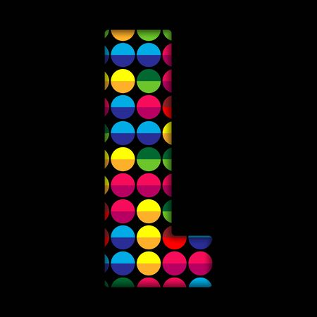 Alphabet Dots Color on Black Background L Vector