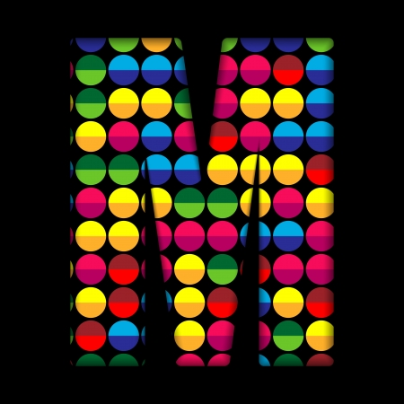 Alphabet Dots Color on Black Background M Vector