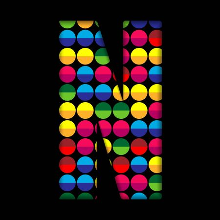 Alphabet Dots Color on Black Background N Vector