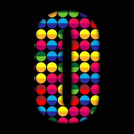 Alphabet Dots Color on Black Background O Vector