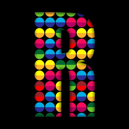 Alphabet Dots Color on Black Background R Vector