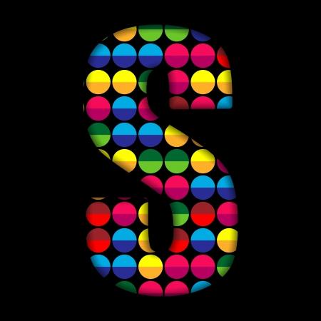 s alphabet: Alphabet Dots Color on Black Background S Illustration