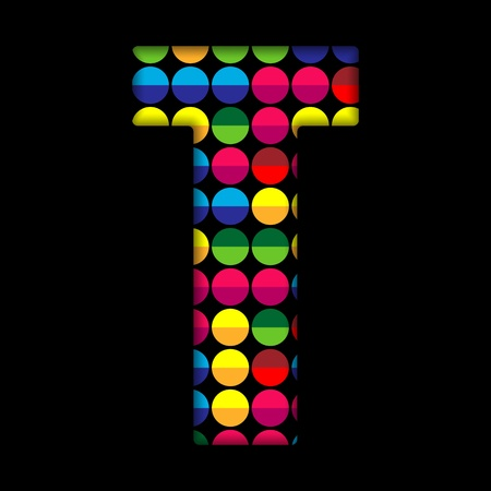Alphabet Dots Color on Black Background T Vector