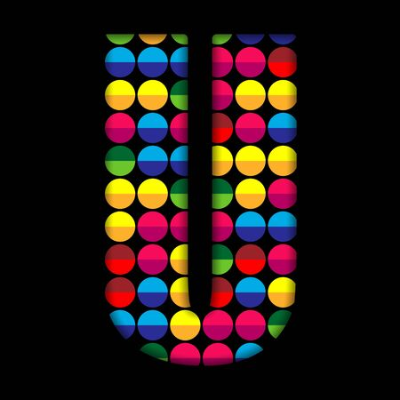 Alphabet Dots Color on Black Background U Vector