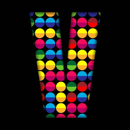colorful light display: Alphabet Dots Color on Black Background V Illustration