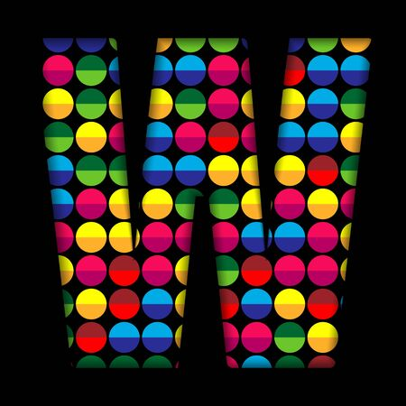 Alphabet Dots Color on Black Background W Vector