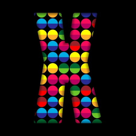 Alphabet Dots Color on Black Background X Vector