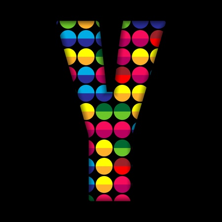 Alphabet Dots Color on Black Background Y Vector