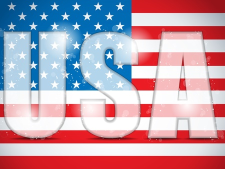 USA Glass Letters with Flag Background Vector