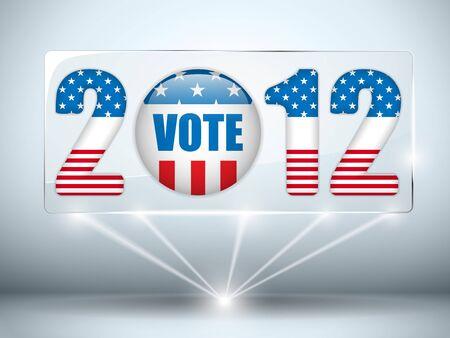 suffrage: United States Election Vote Button Background. Illustration