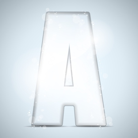 Alphabet Glass Shiny with Sparkles on Background Letter A Vector