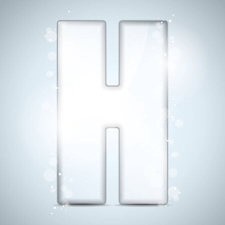 Alphabet Glass Shiny with Sparkles on Background Letter H Stock Vector - 15953522