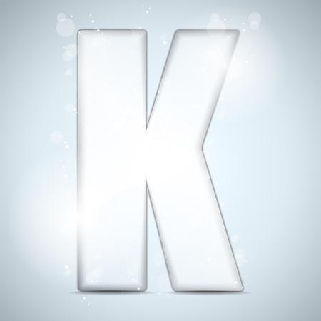 Alphabet Glass Shiny with Sparkles on Background  Letter K Vector