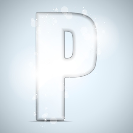 crystal clear: Alphabet Glass Shiny with Sparkles on Background Letter P