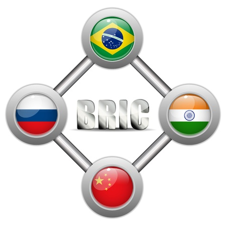 indian currency:  BRIC Countries Buttons Brazil Russia India China Illustration