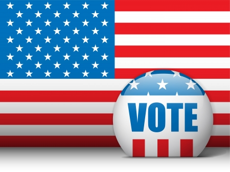 suffrage:  USA Vote Background with American Flag Illustration