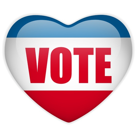 suffrage:  United States Election Vote Heart Button.