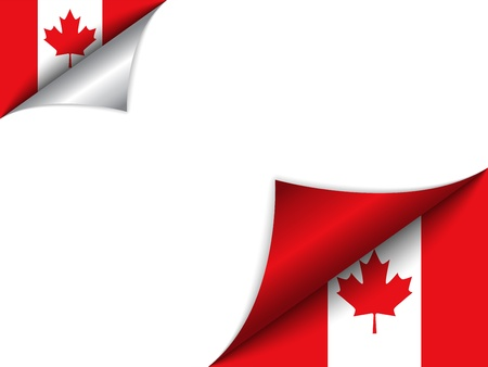 turn the corner: Canada Country Flag Turning Page Illustration