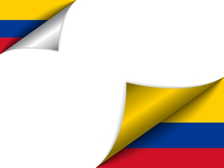 Colombia Country Flag Turning Page 向量圖像