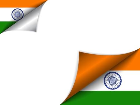 national border: India Country Flag Turning Page Illustration