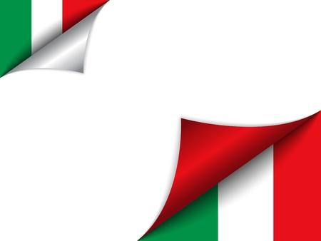 bandera italiana: Vector - País Bandera de Italia de vuelta de página Vectores