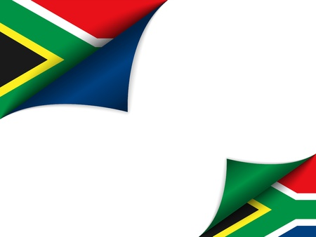 south african:  South Africa Country Flag Turning Page Illustration